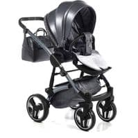 Junama GLITTER 02 Grey - 2in1 Pushchair with Carrycot with Carseat Adapters